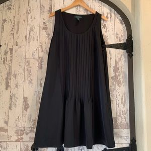 RL black knee length pleated dress w/ pockets